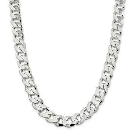 13mm Curb - Sterling Silver 13mm Curb Chain Necklace - Length: 20 to 28