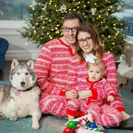 Puseky Family Matching Christmas Pajamas Set Dad Mom Kids Baby Sleepwear Outfits