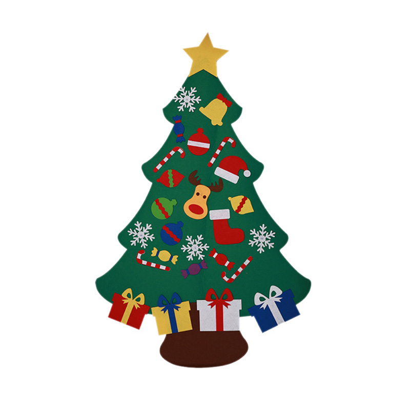 Pack Of 32 Straw And Felt Christmas Tree Scandinavian Style Decoration Set
