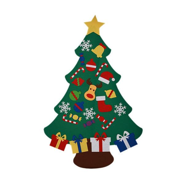 Pack Of 32 Straw And Felt Christmas Tree Scandinavian Style Decoration Set