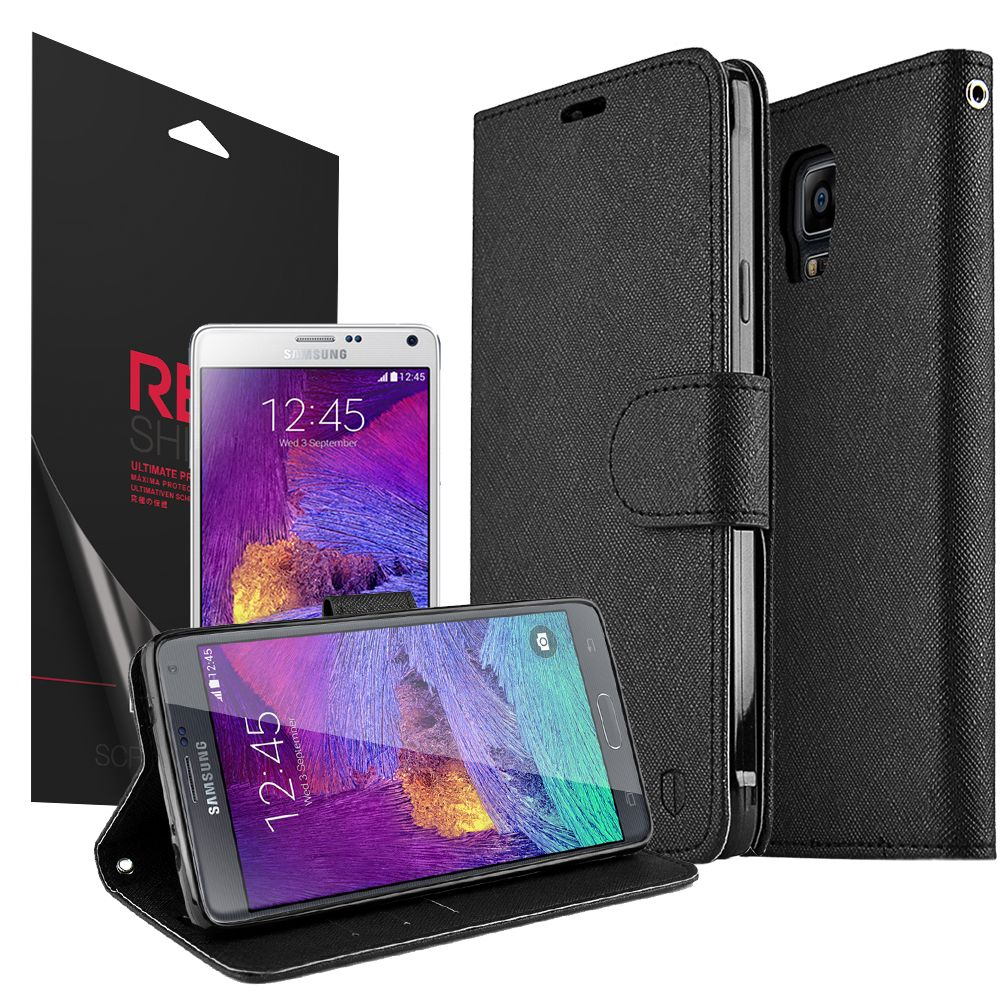 Samsung Galaxy Note 4 Case, [Black] Luxury Faux Leather Saffiano Texture Front Flip Cover Diary Wallet Case w/ Magnetic Flap