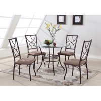 Colette 5 Piece Kitchen Dining Set, Bronze Metal Frame & Tempered Glass Top, Rectangular, Contemporary (Table & 4 Chairs)