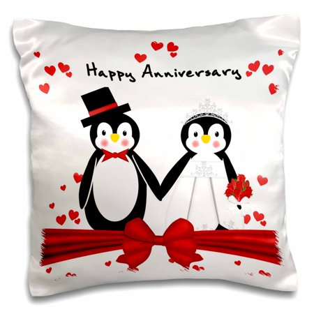 Happy Penguin (3dRose Red Hearts Happy Anniversary Penguin Wedding Couple - Pillow Case, 16 by)