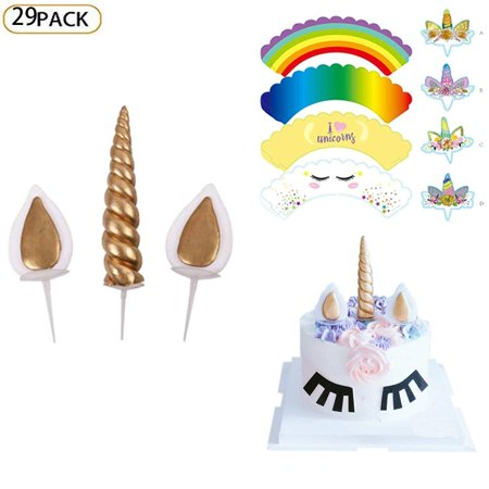 Unicorn Cake Topper 29 Pcs Handmade Cake Cupcake Decorating Topper