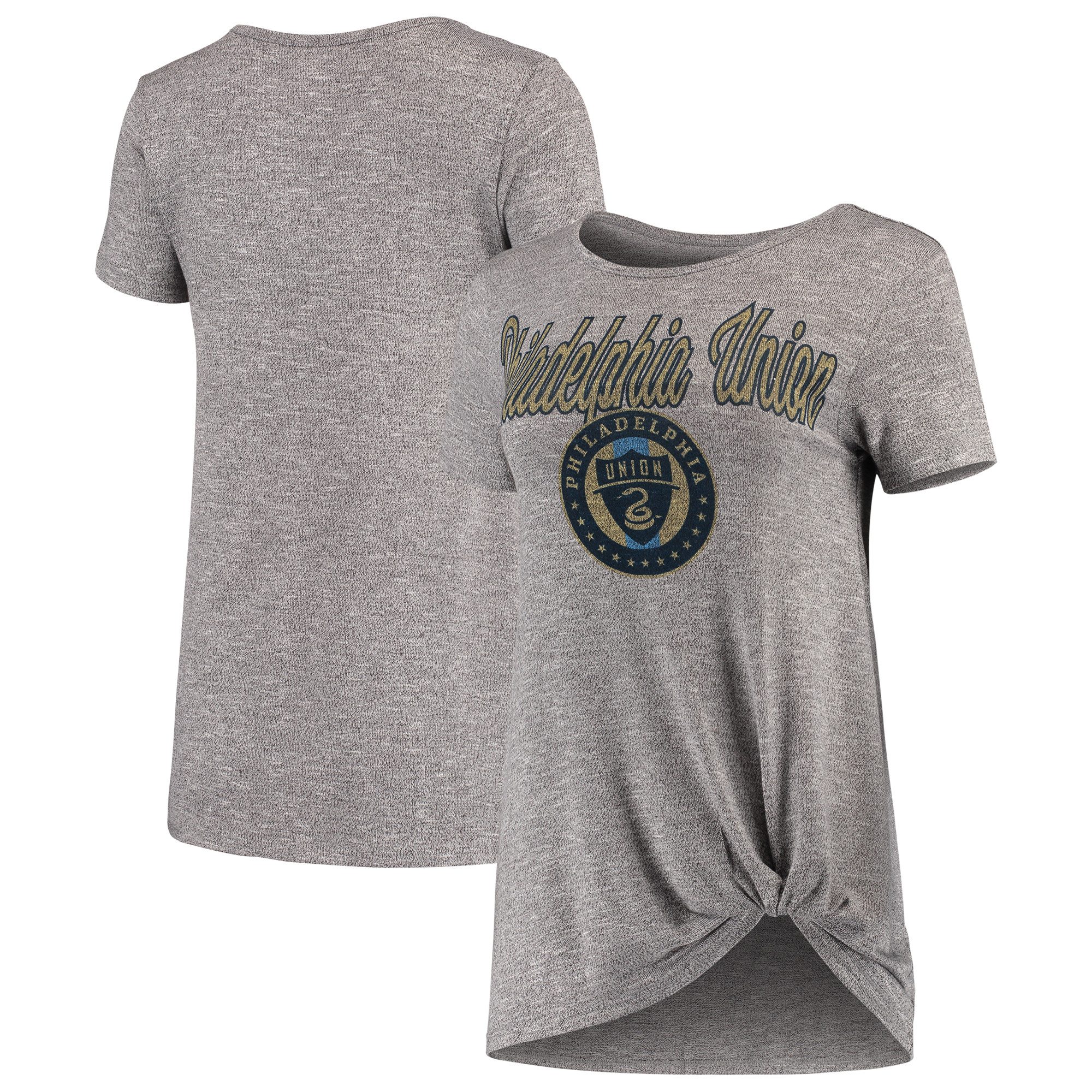Philadelphia Union Concepts Sport Women's Layover Knot Tri-Blend T-Shirt - Gray