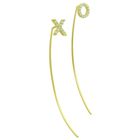 Cubic Zirconia Eternity Slip through Wire XO Earrings Yellow Gold-Tone Sterling Silver
