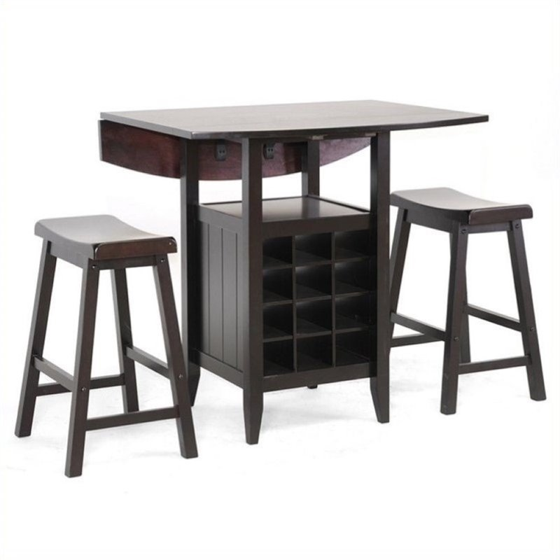 Bowery Hill 3 Piece Counter Height Dining Set in Black