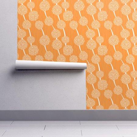 Peel-and-Stick Removable Wallpaper Flower Flower Mums Orange White Retro (Orange Flower Wallpaper)
