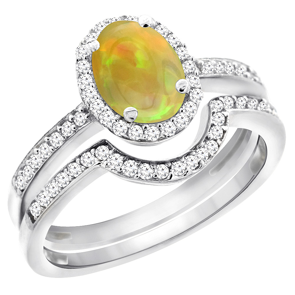 14K White Gold Diamond Natural Ethiopian Opal 2-Pc. Engagement Ring Set Oval 8x6 mm, size 5.5 by Gabriella Gold