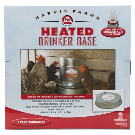 Harris Farms Poultry Heated Drinker Waterer Base for Chickens ()