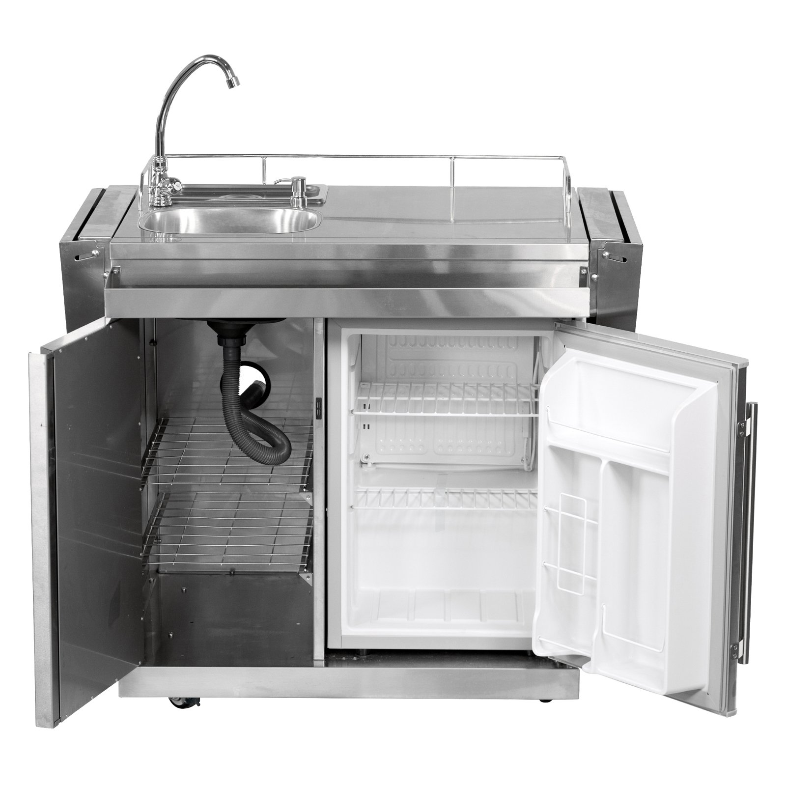 outdoor kitchen fridge small yard leisure season outdoor kitchen cart with fridge and sink walmartcom