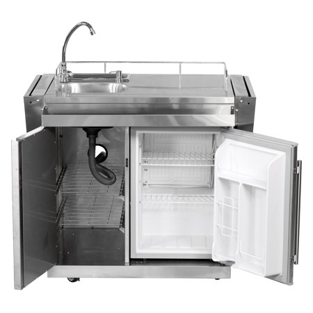 Leisure Season Outdoor Kitchen Cart with Fridge and Sink