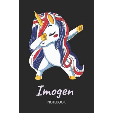 Imogen - Notebook: Blank Lined Personalized & Customized Name Great Britain Union Jack Flag Hair Dabbing Unicorn Notebook / Journal for G Paperback
