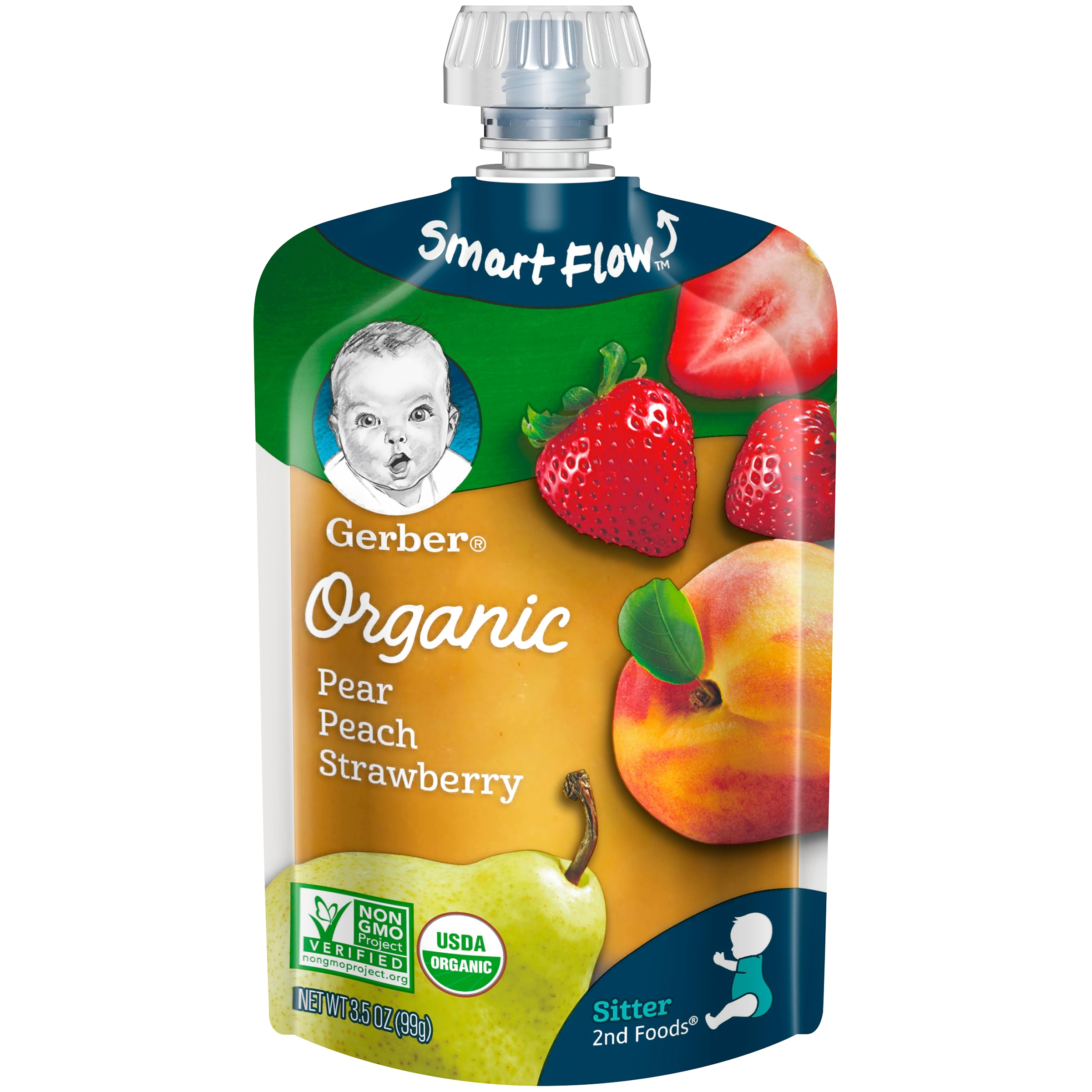 Gerber Organic 2nd Foods Baby Food, Pear Peach Strawberry, 3.5 oz Pouch (Pack of 12)