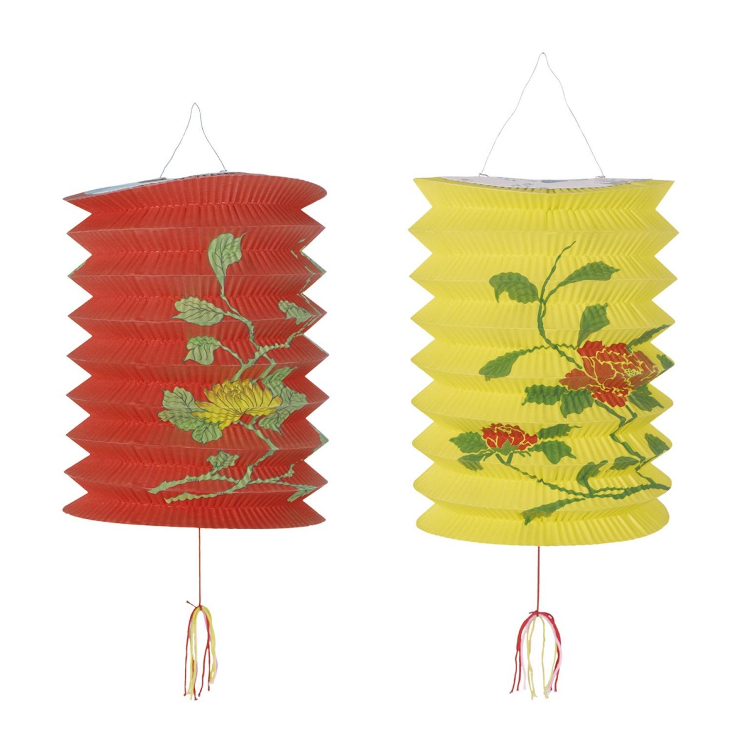 Club Pack of 24 Red and Yellow Floral Chinese New Year Paper Lantern Decorations 9""