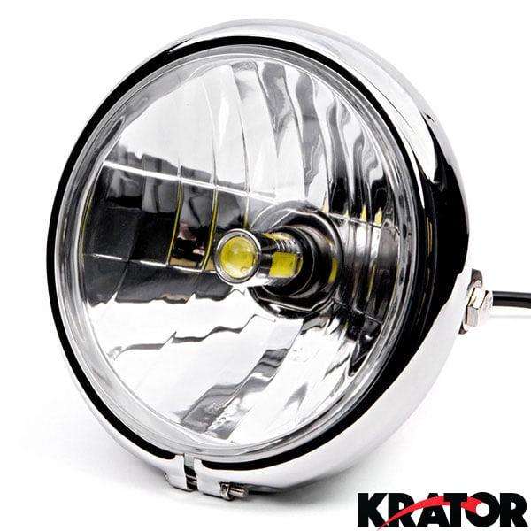 "KapscoMoto Krator 6"" Chrome LED Motorcycle Headlight w/ S..."