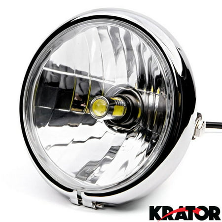 Krator 6  Chrome Led Motorcycle Headlight W  Side Mounting Running Light High   Lo Beam For Yamaha Royal Star Venture Classic Royale Deluxe