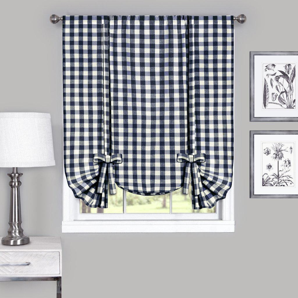Country Chic Plaid Gingham Tie Up Shade Window Curtain Treatment - Navy