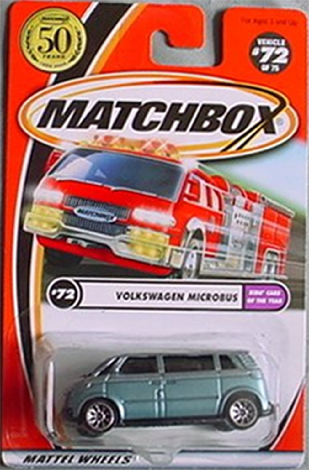 2002-72 Volkswagen Microbus Kids' Cars of the Year LIGHT BLUE 1:64 Scale, VW MICROBUS 50... by
