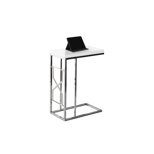 Monarch Accent Table Glossy White / Chrome Metal