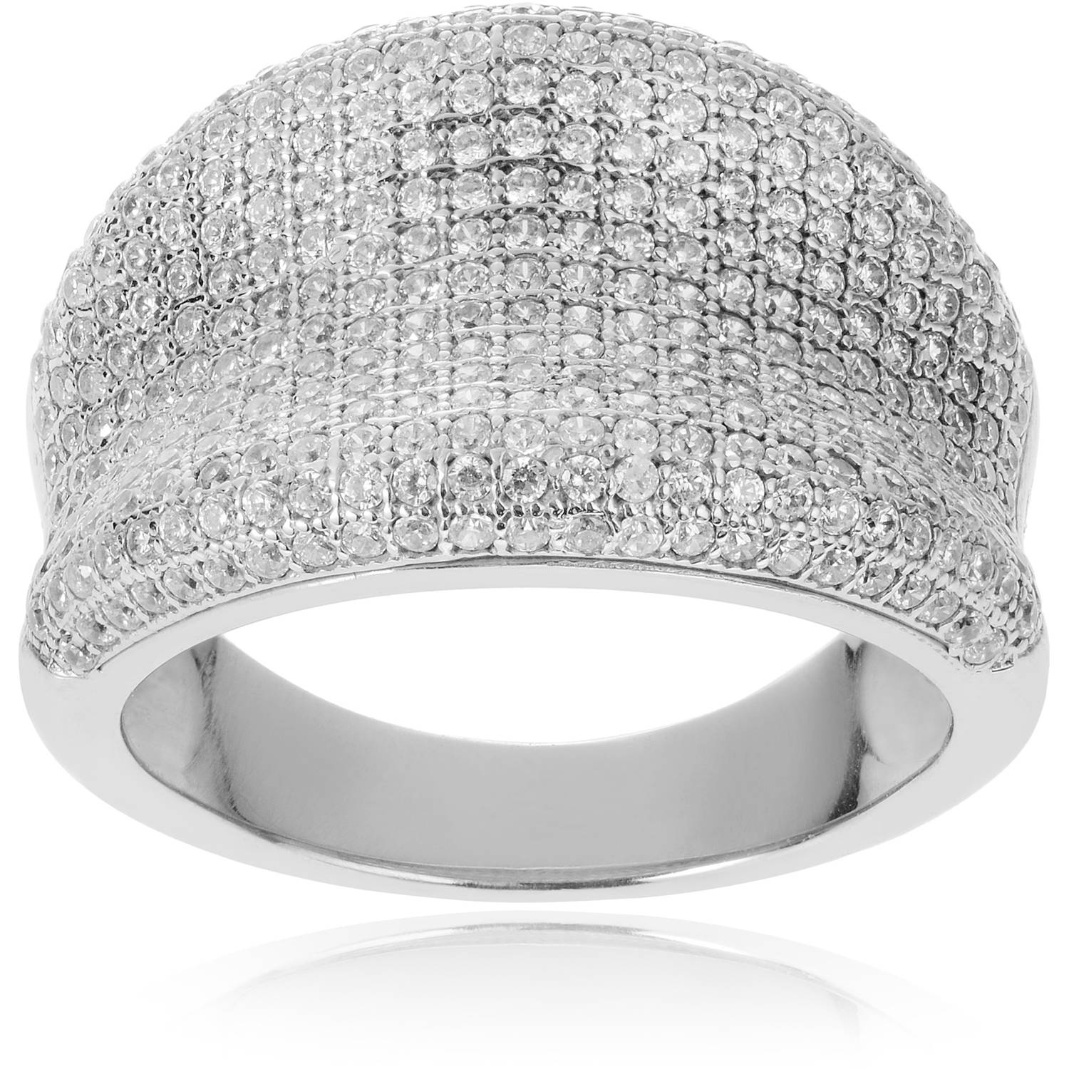 Alexandria Collection Women's Round-Cut Micro Pave CZ Sterling Silver Engagement Ring
