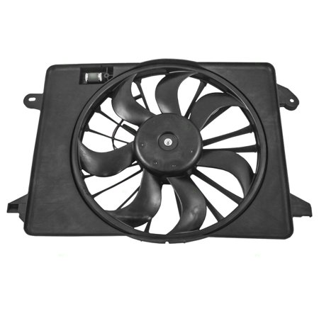 (Single Cooling Fan Motor Shroud Assembly Replacement for Chrysler Dodge 68050129AA)