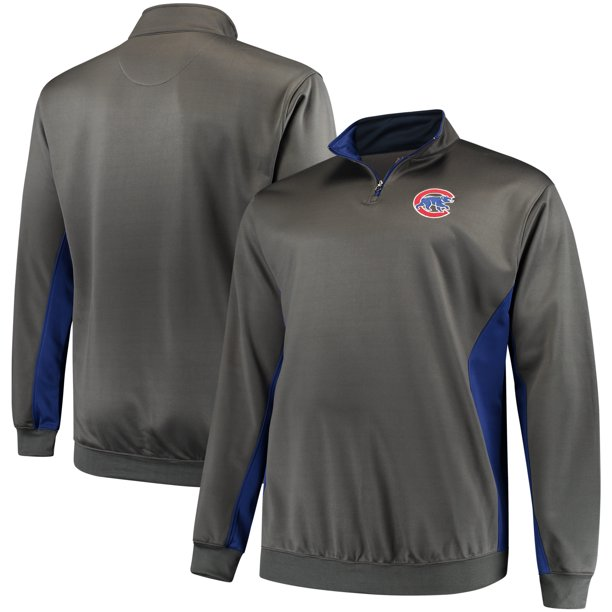 Chicago Cubs Majestic Fleece Pullover Quarter-Zip Jacket - Charcoal/Royal
