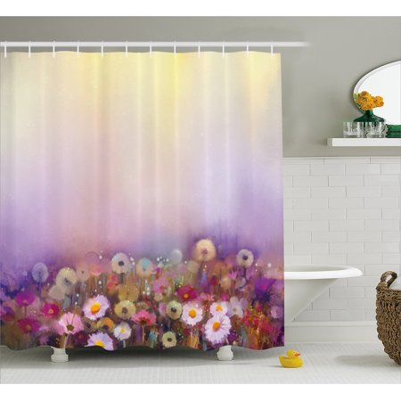 Watercolor Flower Home Decor Shower Curtain, Bed with Different Blossoms Types Fresh Romantic Garden Paint , Fabric Bathroom Set with Hooks, 69W X 70L Inches, Lilac Pink, by