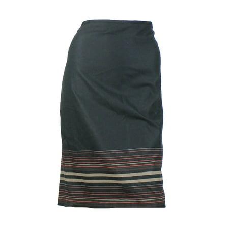 Studio M Black Border Stripe Pencil Skirt S