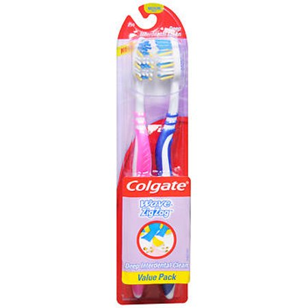 Colgate Wave Zig Zag Toothbrushes Medium Full Head Value Pack - 2 ea