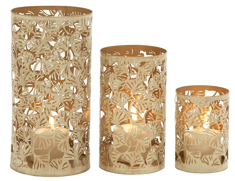 Contemporary Styled Set Of Three Metal Candle Holder by Benzara