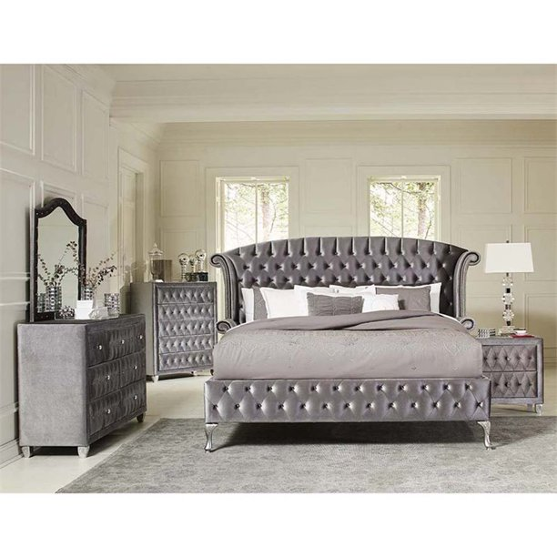 Coaster Deanna 5 Piece King Wingback Bedroom Set in Gray - Walmart
