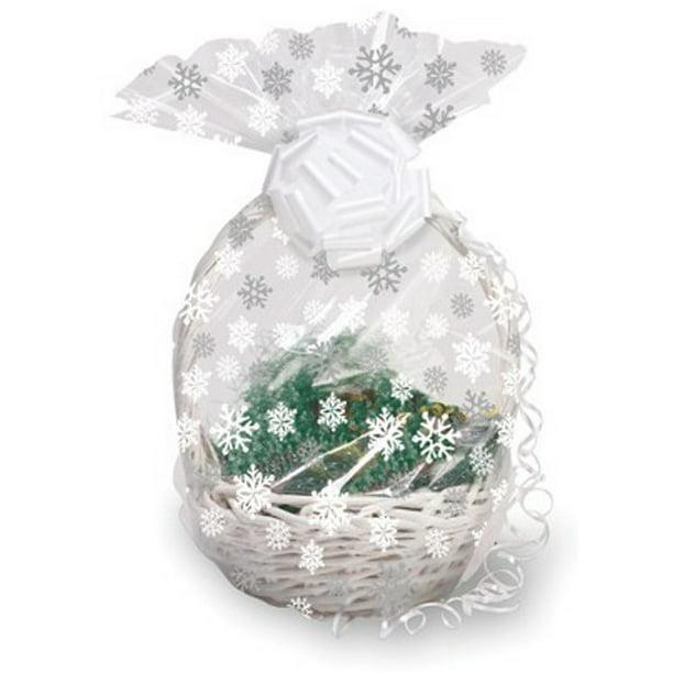 Pack Of 12 Clear Large Snowflake Christmas Cellophane Gift Basket Bags 24 Walmart Com Walmart Com
