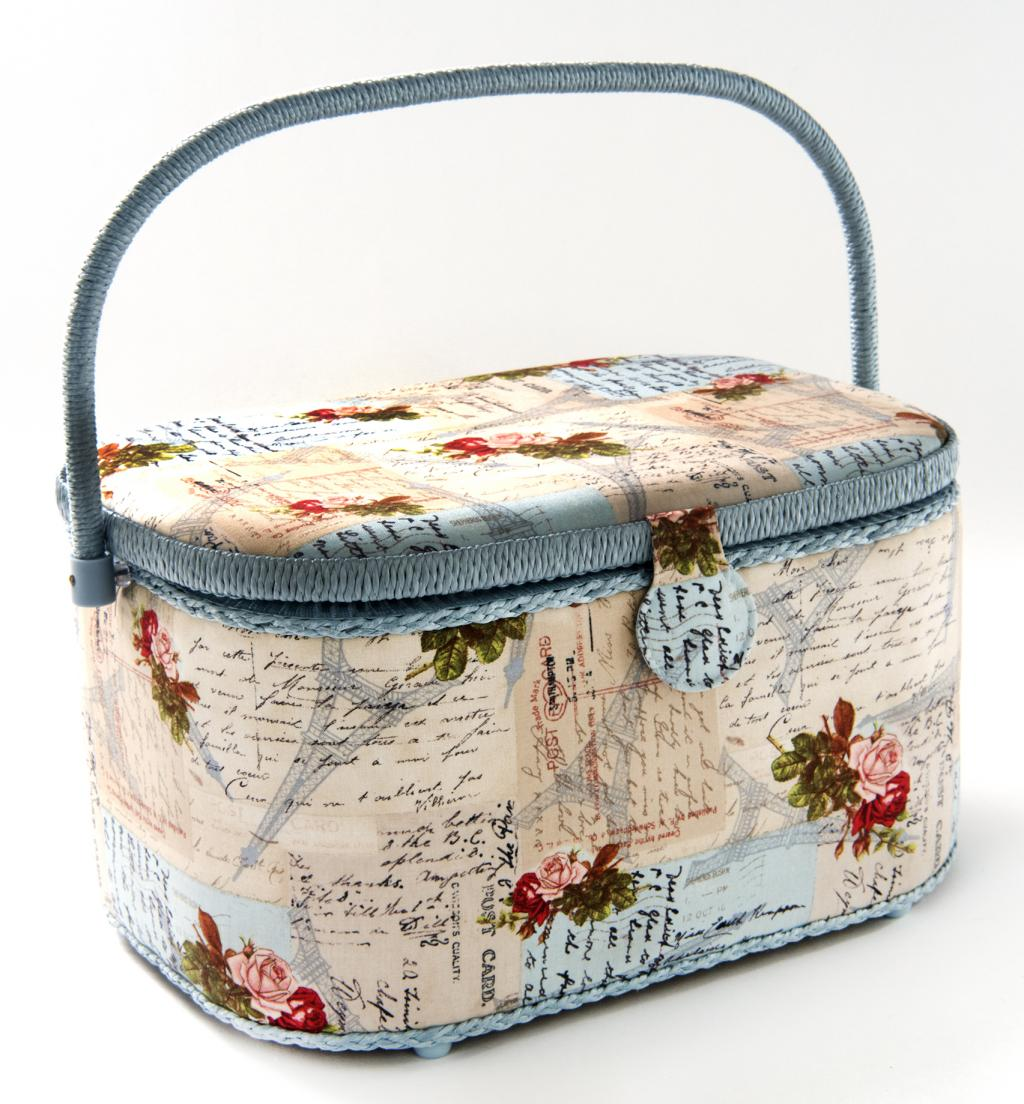 Dritz St Jane Extra Large Oval Sewing Basket Box 14-1/4 in x 10-1/4 in x 8-1/8 in