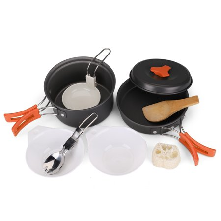 Camping Cookware Mess Kit Compact 10pc Hiking Cooking Gear