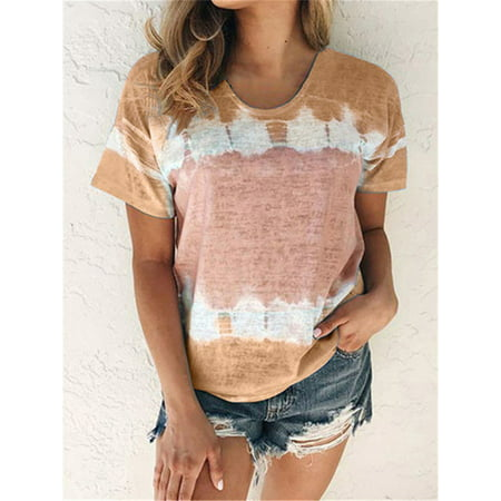 Women's Wear Temperament Commuting Loose Tie-Dye Gradual Round Collar Short-Sleeved T-shirt Women Tye Dye