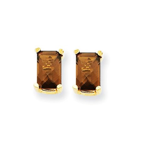 14k Yellow Gold 6x4 Emerald Smokey Quartz Earrings. Gem Wt- 1.2ct (7MM Long x 4MM Wide) Cushion Smokey Quartz Earring