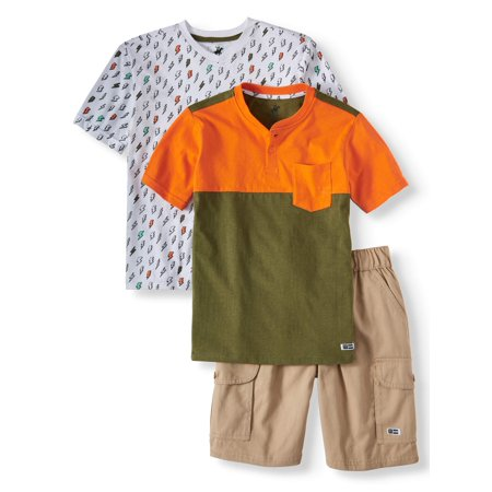 Short Sleeve Lightning Graphic Tee, Henley Tee, and Cargo Short, 3-Piece Outfit Set (Little Boys & Big Boys)