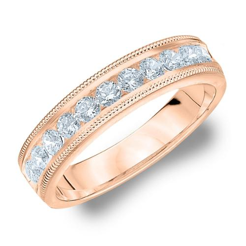 Amore Rose Gold 1/2ct TDW Milgrain Diamond Wedding Band (G-H, SI1-SI2) 18K Rose Gold - Size 10