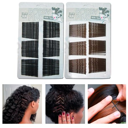 144 Bobby Bob Pins Invisible Metal Hair Clips Rounded Tip Barrette Salon Styling (Hair Salon Clips)