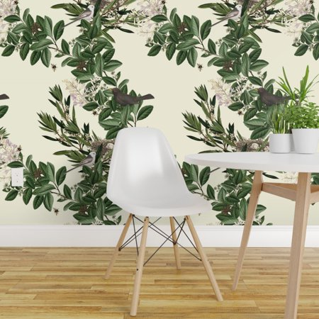 Peel and Stick Removable Wallpaper Blackbird Nest Tree Botanical Green