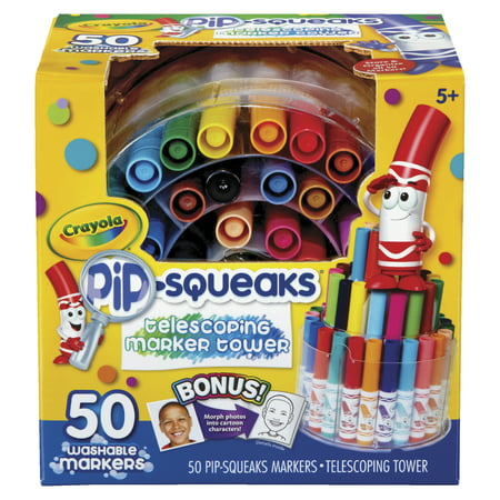Crayola Pip Squeaks Marker Tower, Assorted Colors, 50 Washable Markers