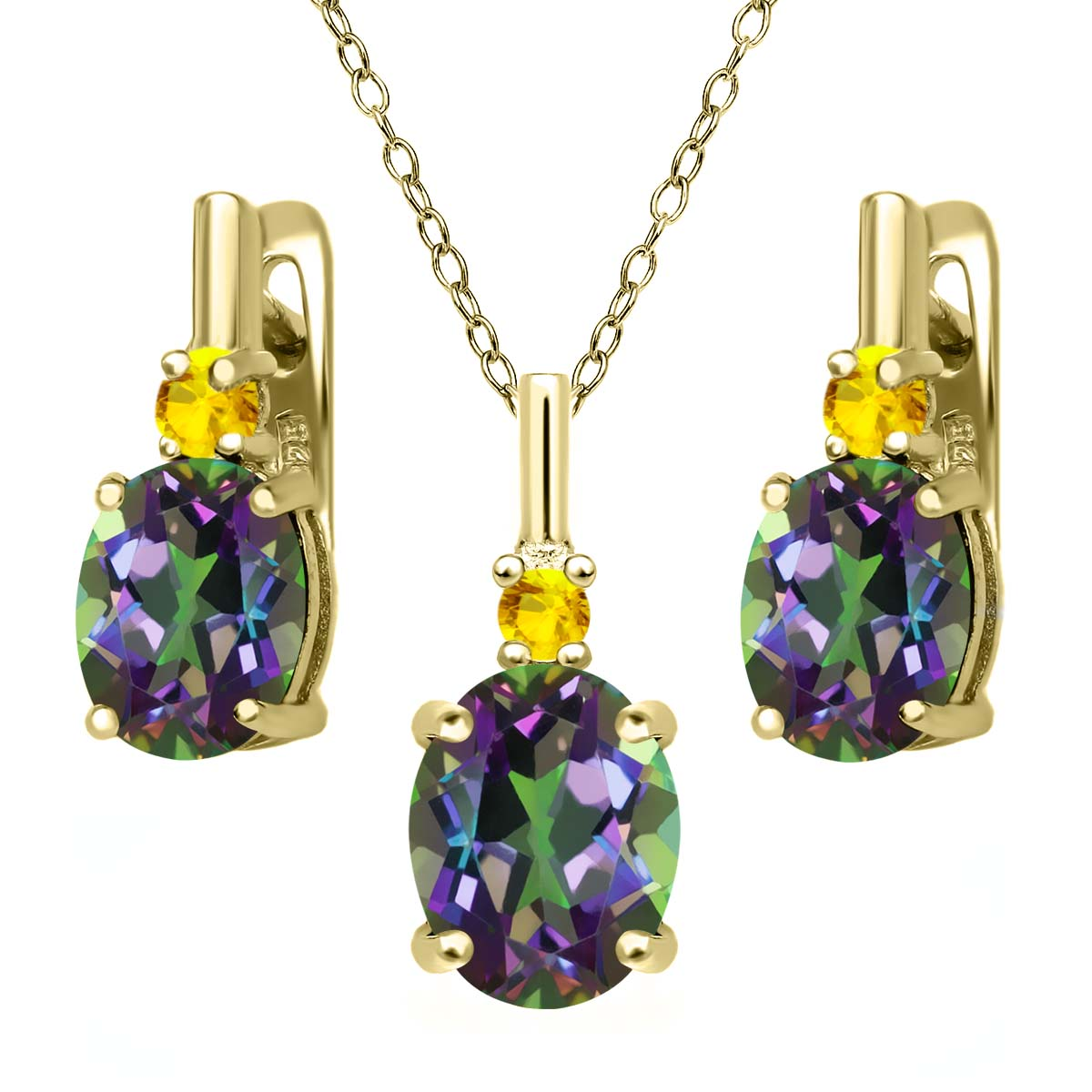 6.99 Ct Green Mystic Topaz Yellow Sapphire 18K Yellow Gold Plated Silver Pendant Earrings Set by