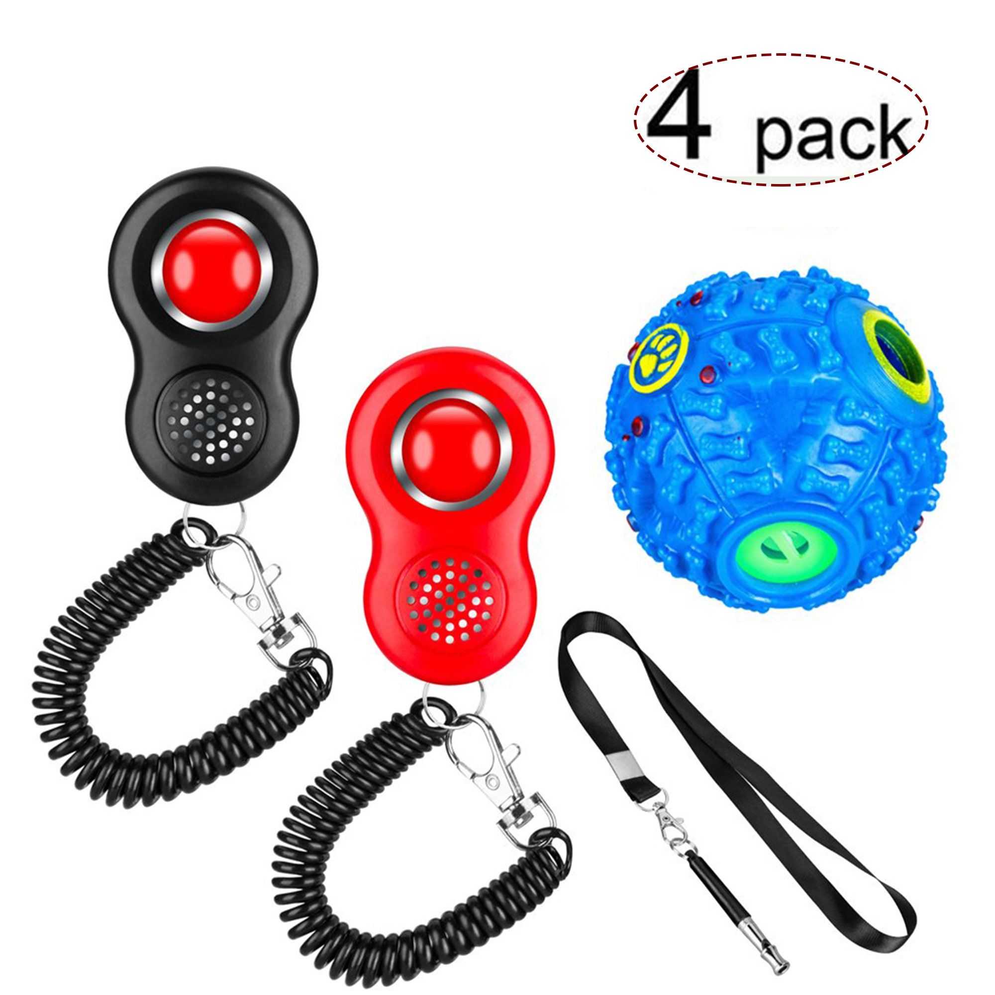 Dog Clicker for Training Dogs, Dog Training Clicker with Wrist Strap and Whistle, Pet Clicker Training Set for Small Large Dogs, Including Dog Whistle and Food Dispenser Set