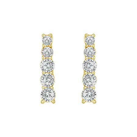 Diamond Journey Earrings 14K Yellow Gold 1.00 CT Diamonds