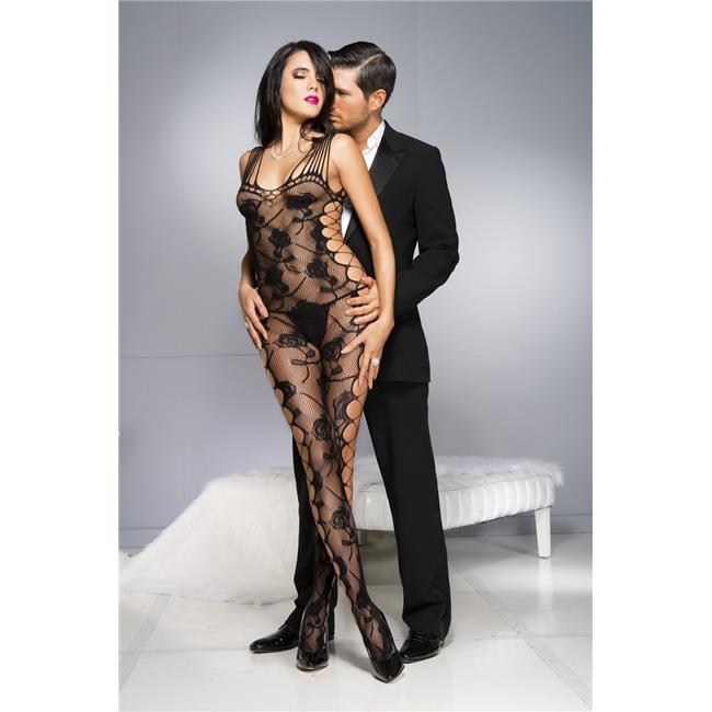 Rose Design Bodystocking with Shredded Straps & Side Cut Outs, Black - image 1 of 1