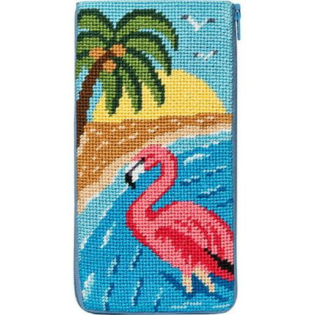 Stitch & Zip Needlepoint Eyeglass Case Kit - SZ483 Flamingo Zip Eyeglass Case