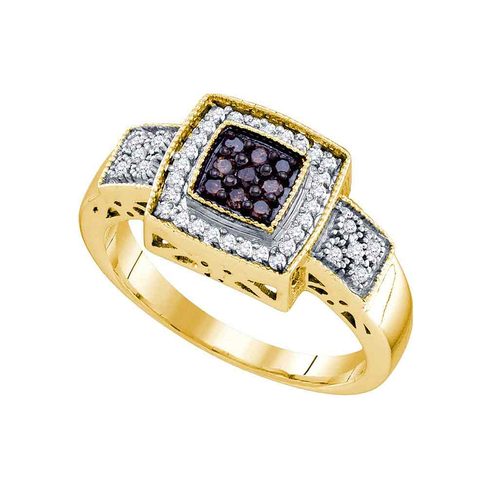 10k Yellow Gold Cognac-brown Colored Diamond Womens Square-shape Cluster Ring (.33 cttw.)