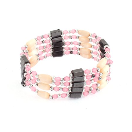 Lady Magnetic Hematite Bead Magnet Clasp Bracelet Choker Necklace Pink Black