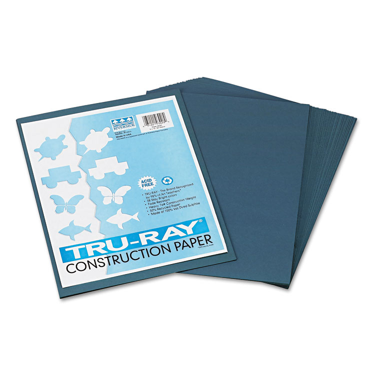Pacon Tru-Ray Construction Paper, 76 lbs., 9 x 12, Slate, 50 Sheets/Pack -PAC103028
